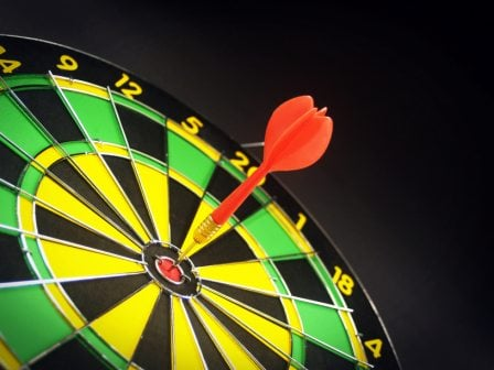 Website landing page design like a dart board