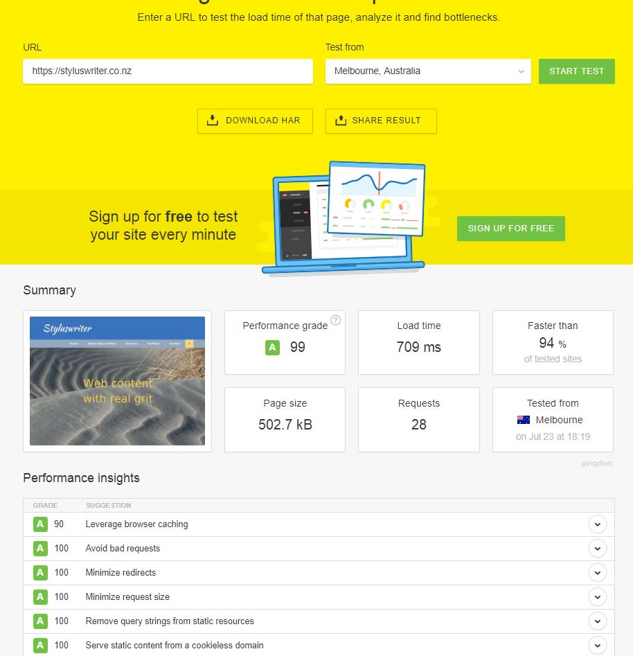 Great web page speed test results